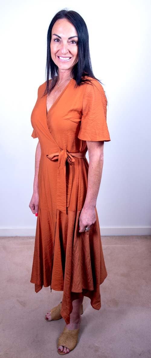 Fate + Becker Rust Wrap Dress