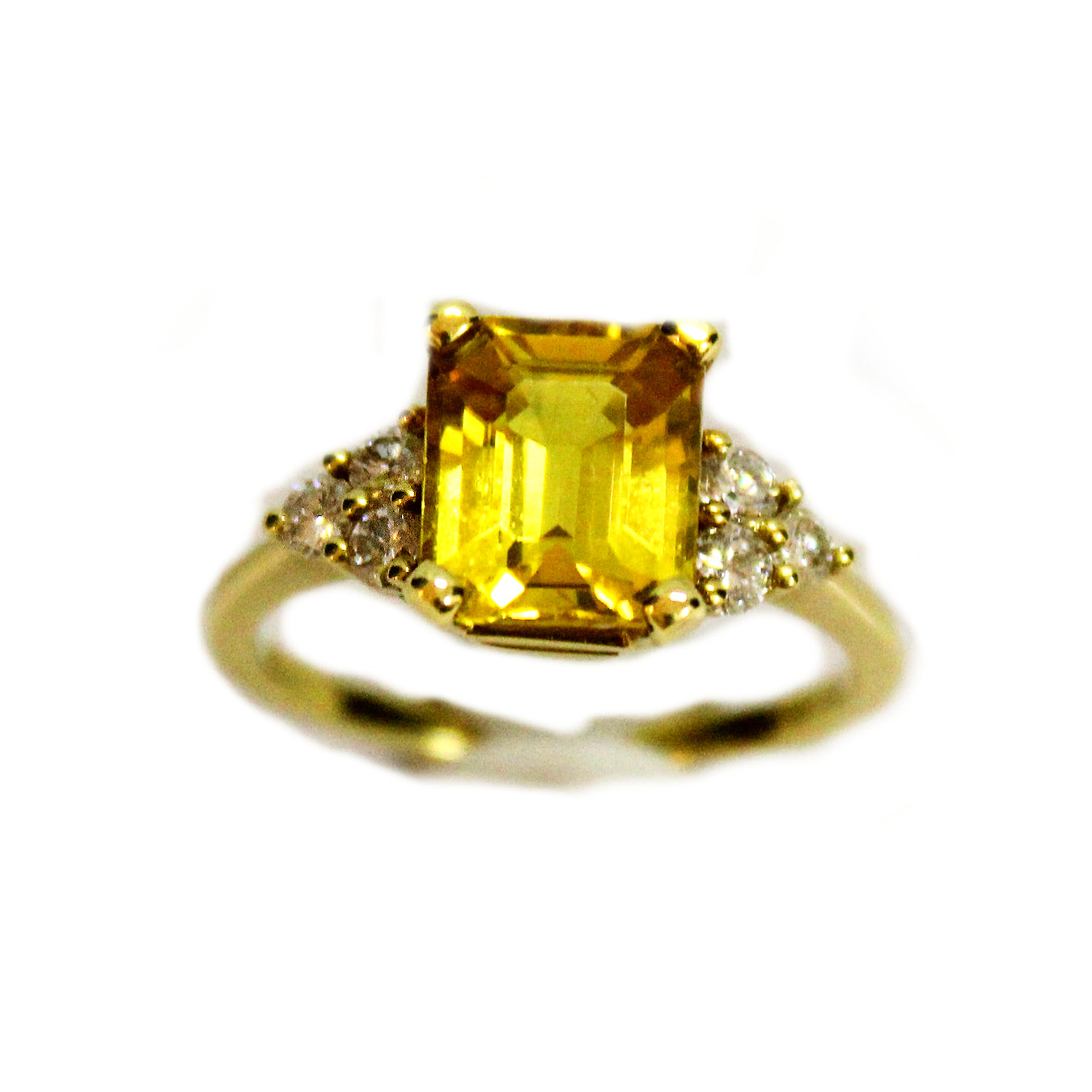 Fancy 18k Yellow Gold Golden Sapphire & Diamond Ring
