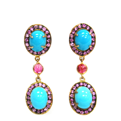 Stunning Turquoise & Pink Sapphire Earrings