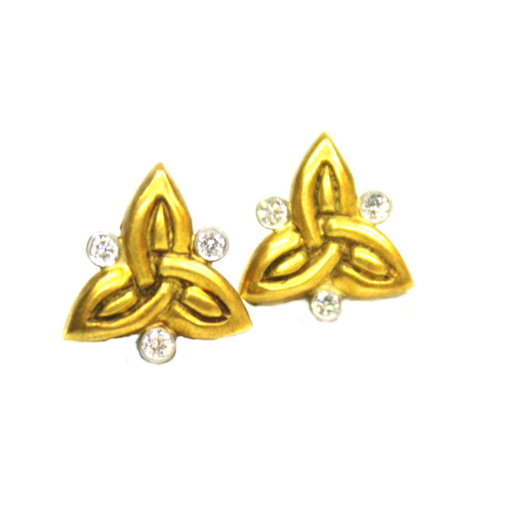 Contemporary 18K Yellow Gold J.J. Marco Diamond Earrings