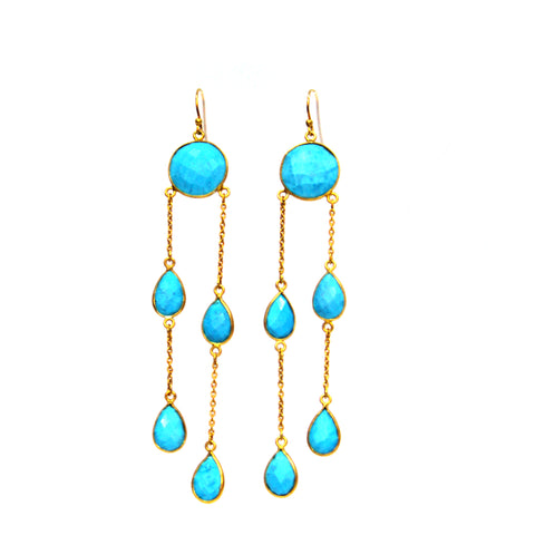Modern Turquoise Chandelier Earrings