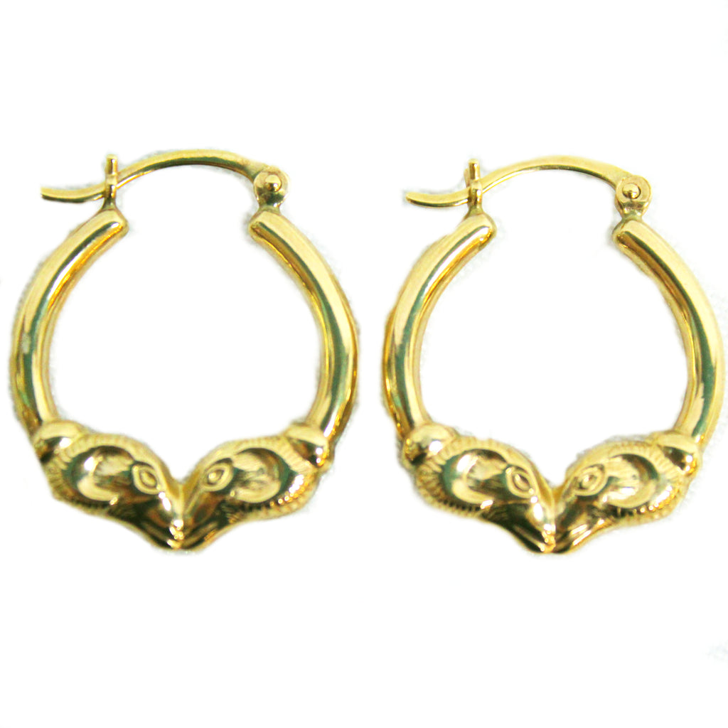 Classic 14k Yellow Gold Rams Head Hoop Earrings