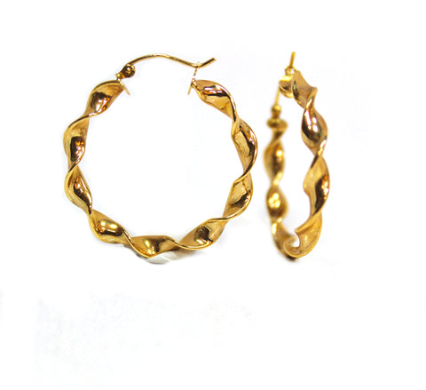 Classic 14k Yellow Gold Twisted Hoop Earrings