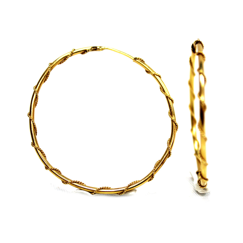 Vintage 14k Yellow Gold Thin Hoops