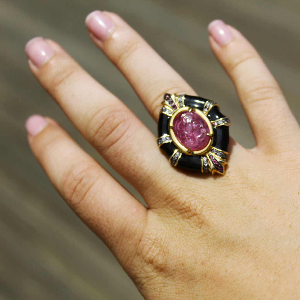 David Webb Inspired Carved Ruby Onyx & White Topaz Ring