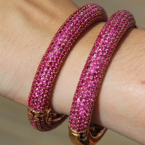 Stunning Ruby Pave Set Bangle Bracelet