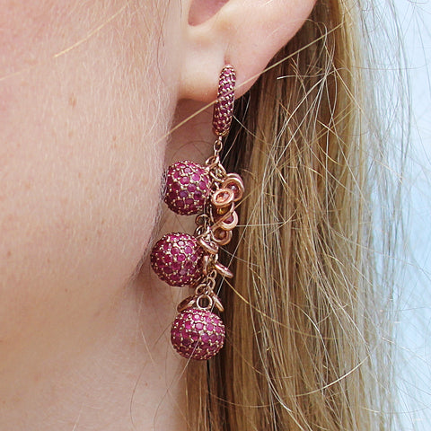 Stunning Pave Set Ruby Ball Earrings
