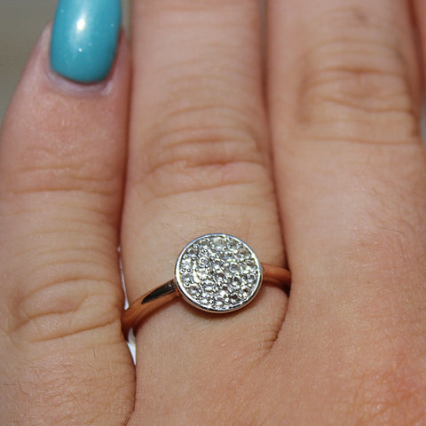Modern Two-Tone White Topaz Disk Ring