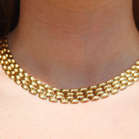 Vintage 18k Yellow Gold Panther Link Necklace