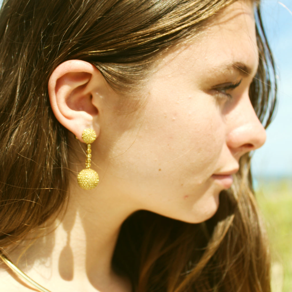 Lovely Golden Sapphire & Citrine Pave Ball Drop Earrings
