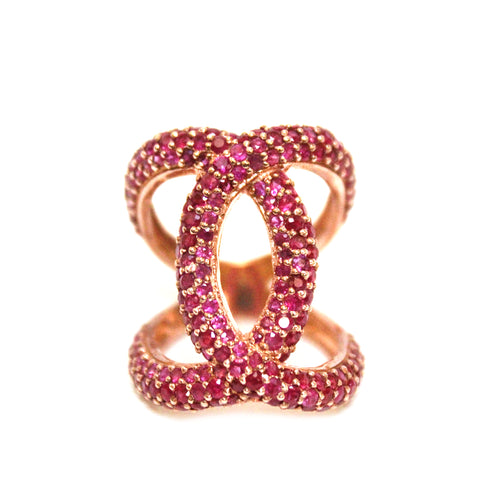 Contemporary Ruby Chris-Cross Double C Ring