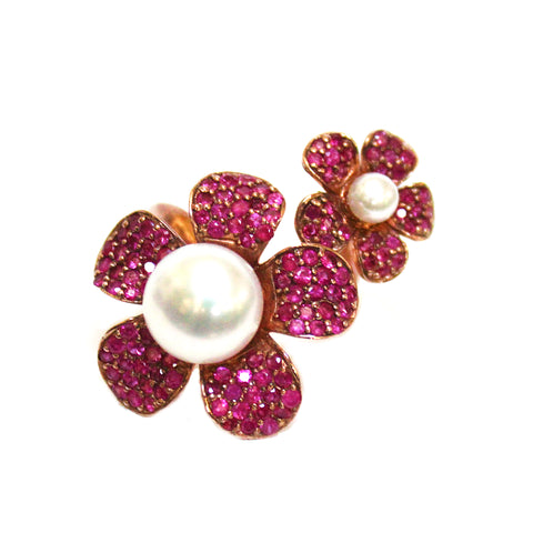 Van Cleef Inspired Pearl & Ruby Flower Ring