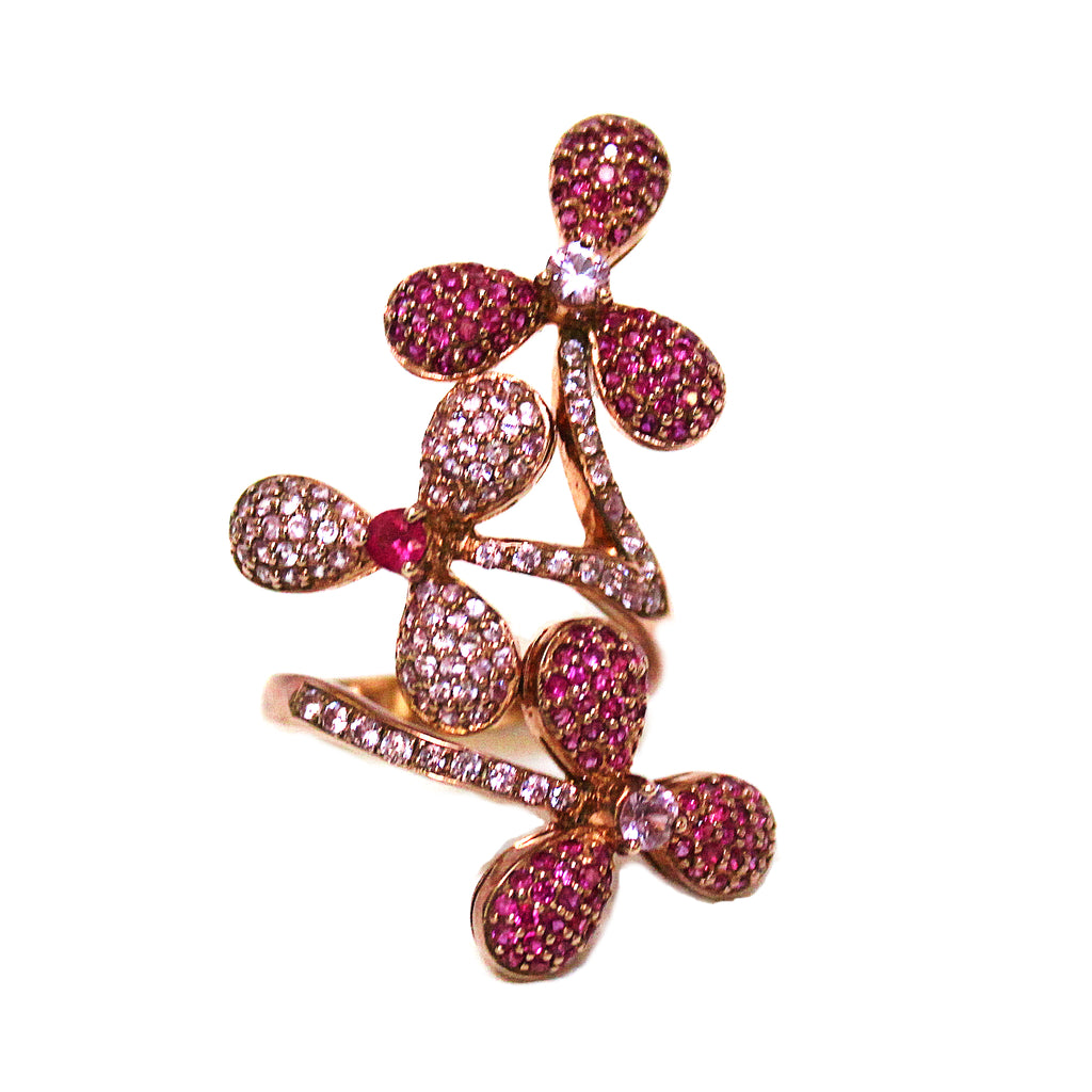 Whimsical Pave Set Ruby & Pink Sapphire Flower Ring