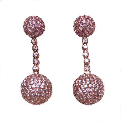 Unique Pink Sapphire Half Sphere Shaped & Hanging Ball Drop Earrings