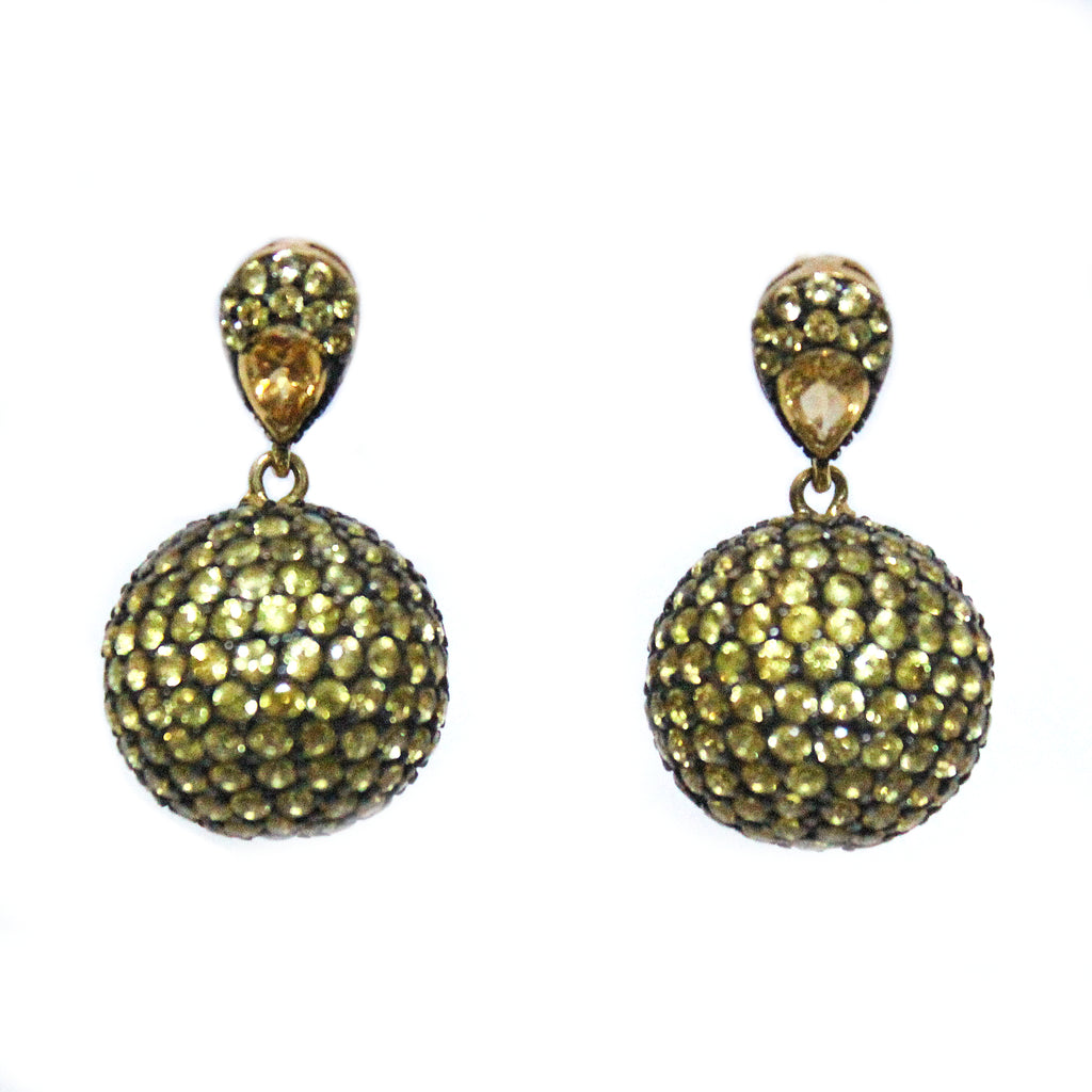 Unique Golden Sapphire Half Sphere Shaped & Hanging Ball Drop Earrings