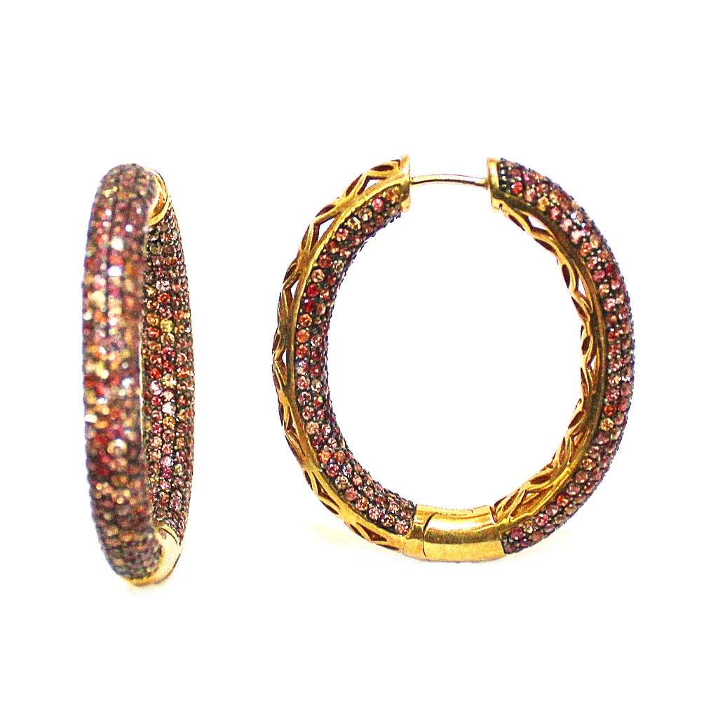 Unique Natural Sapphire Multi-Color Pave Set Hoop Earrings