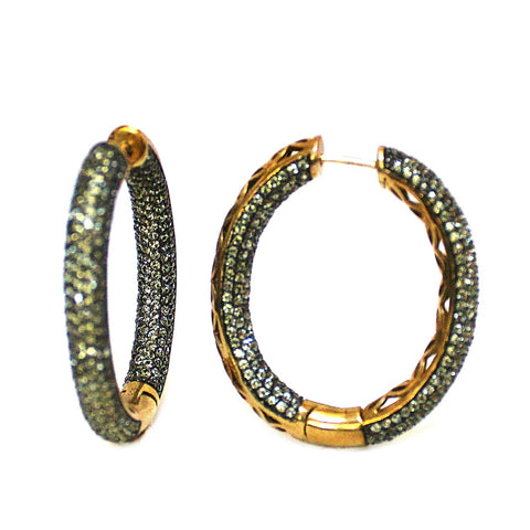 Elegant Natural Green Sapphire Pave Set Hoop Earrings