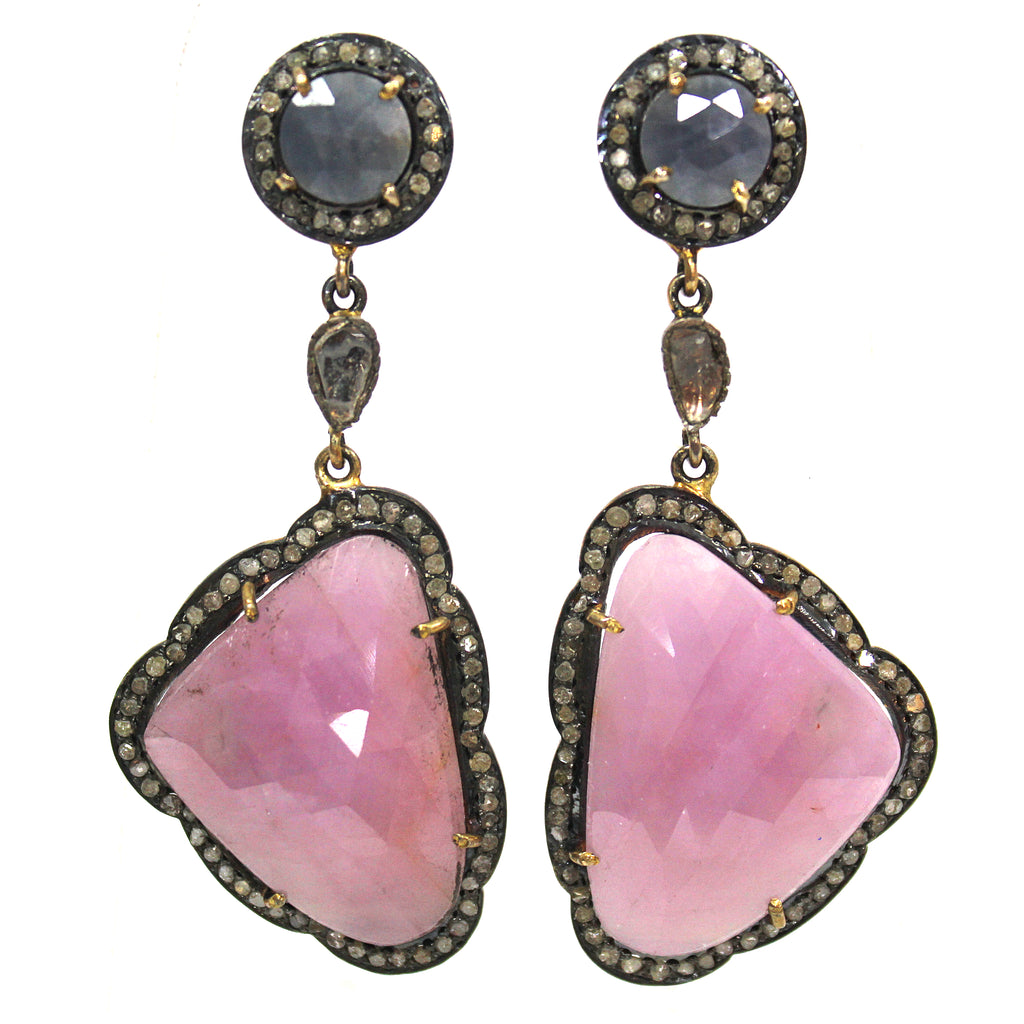 Victorian Inspired Pink & Blue Sapphire Diamond Earrings