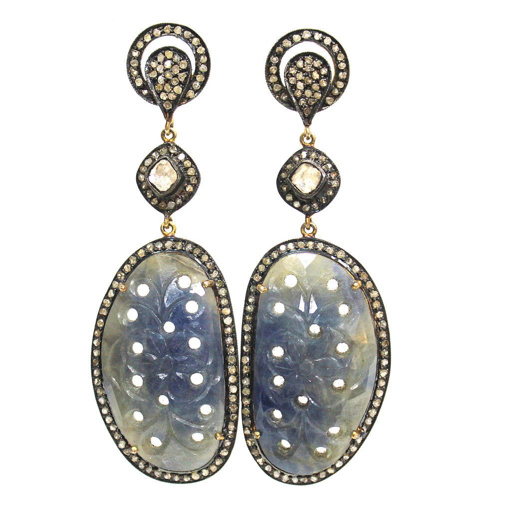 Victorian Style Inspired Carved Sapphire & Diamond Earring
