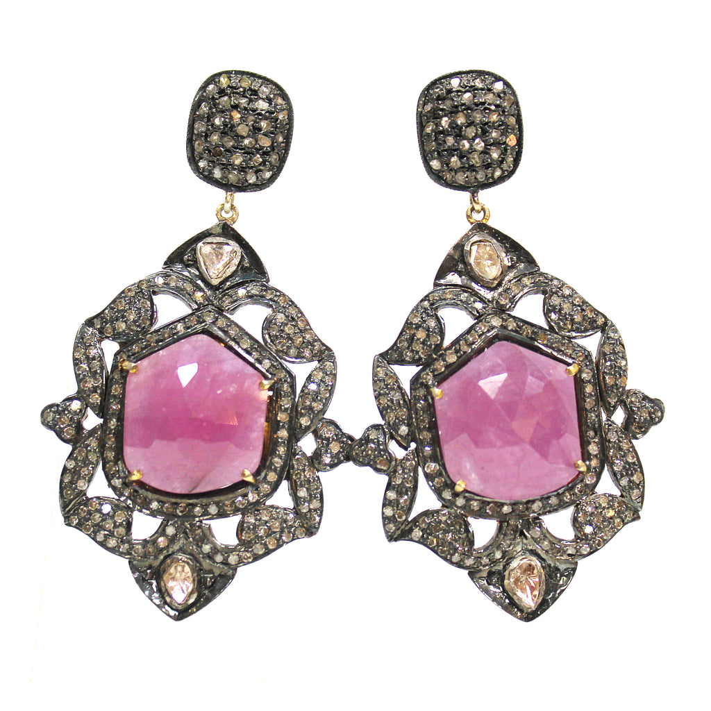 Victorian Style Inspired Ruby & Diamond Earrings