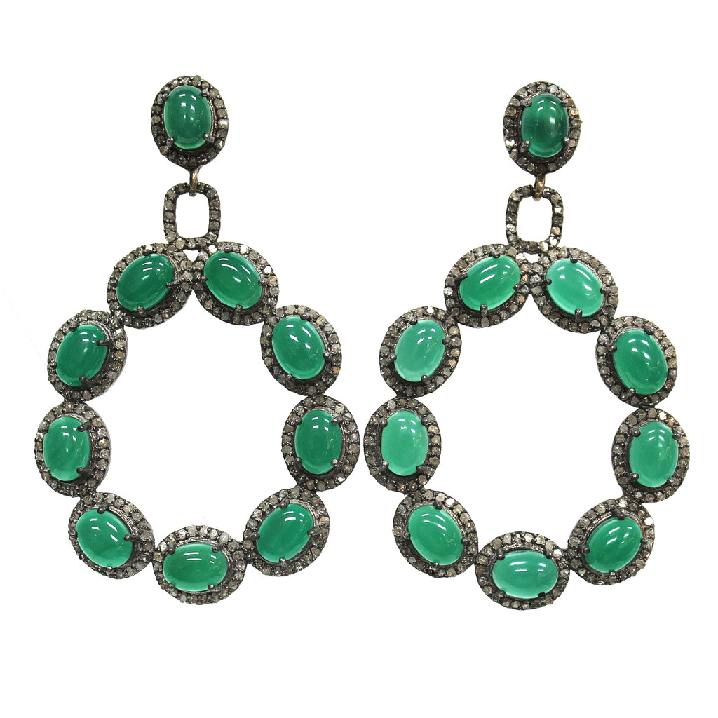Mid-Century Modern Green Onyx & Diamond Earrings