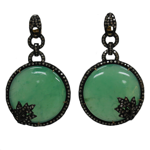 Lovely Art Deco Inspired Natural Green Onyx & Diamond Earrings