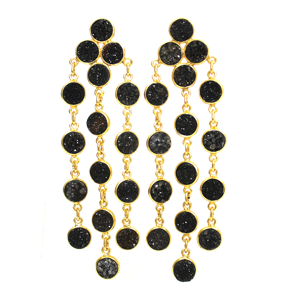 Natural Black Onyx Druzy Chandelier Earrings