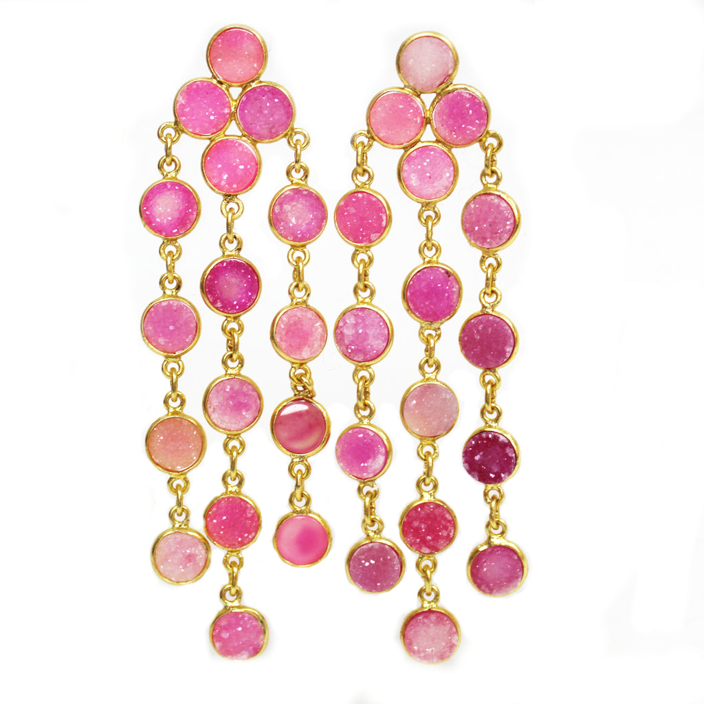 Natural Pink Quartz Druzy Chandelier Earrings