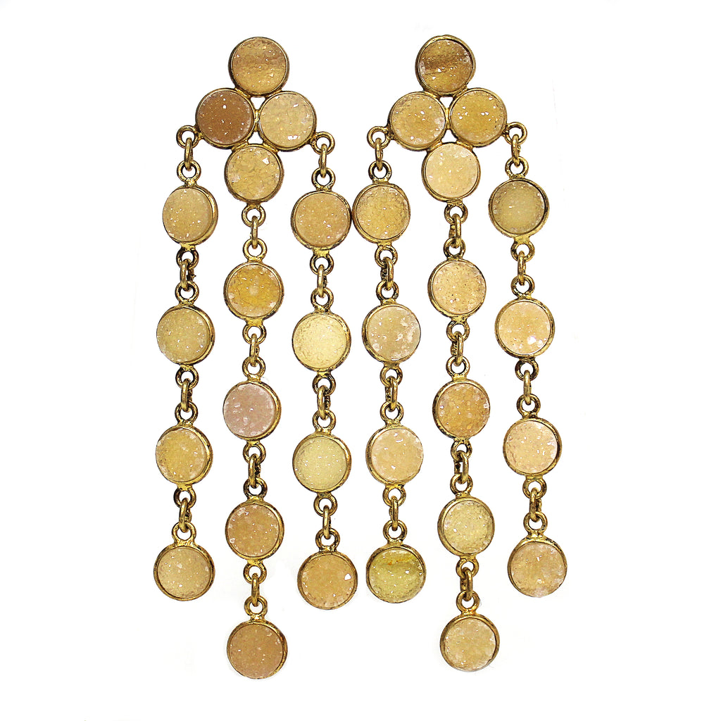 Natural Champagne Quartz Druzy Chandelier Earrings