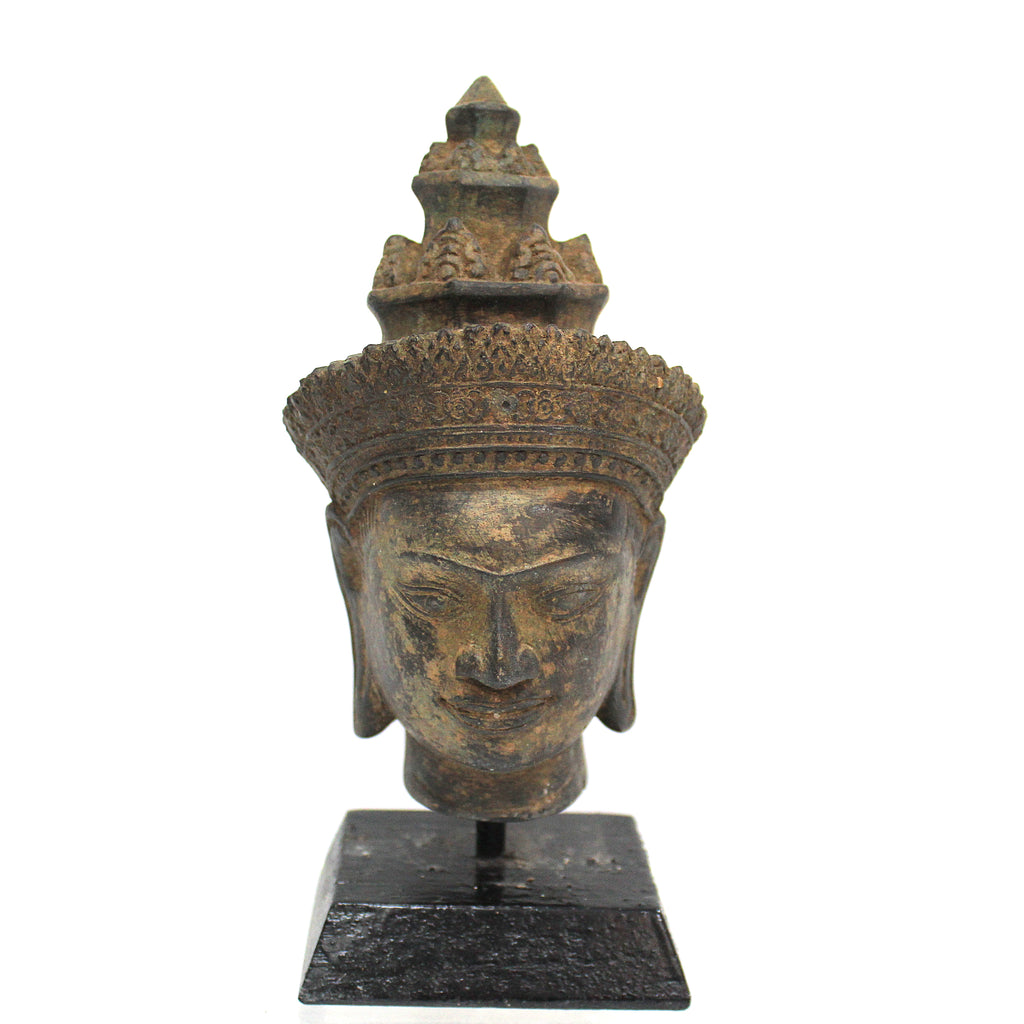 Southeast Antique Style Bronze Buddha Head On Stand