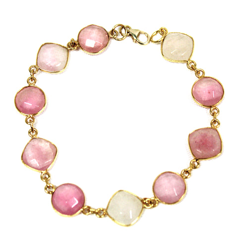 Lovely Rose Quartz & 22k Gold Vermeil Bracelet