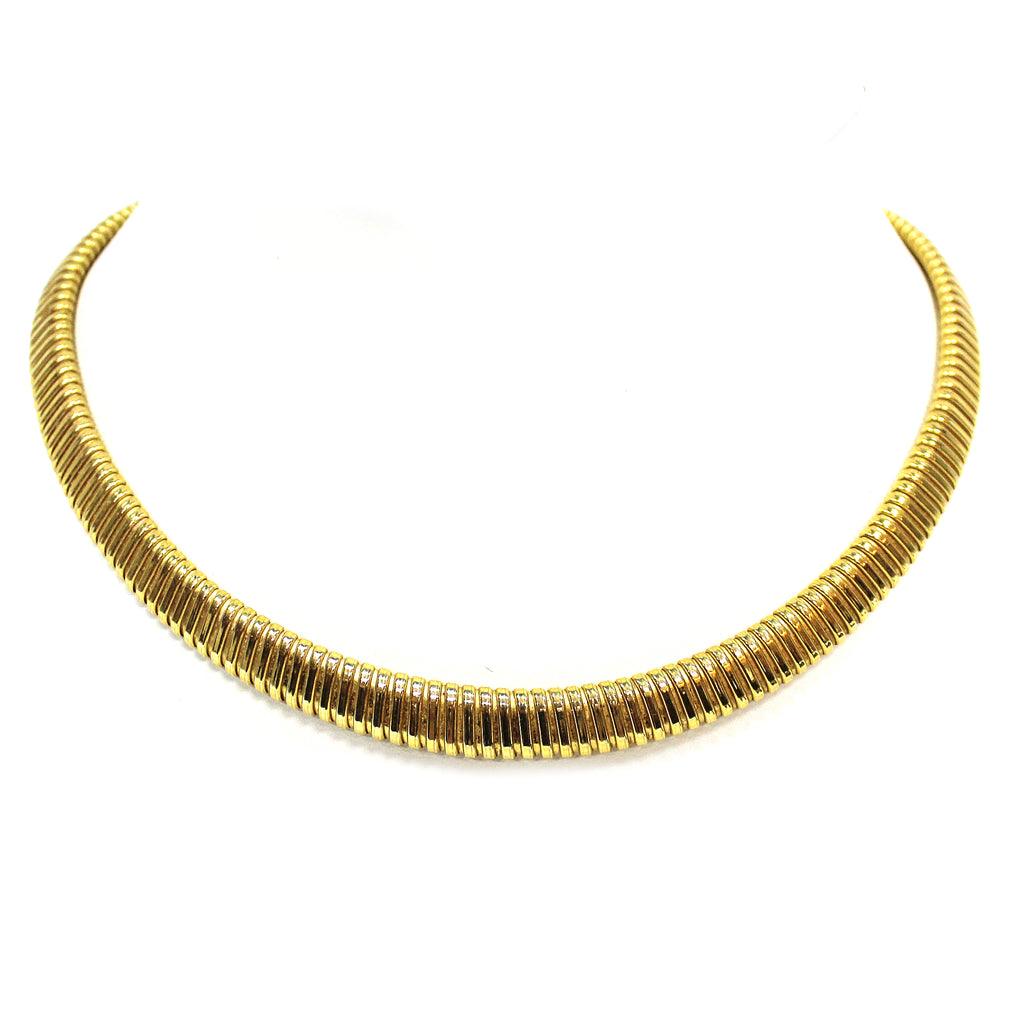 Vintage 18k Yellow Gold Tubogas Necklace