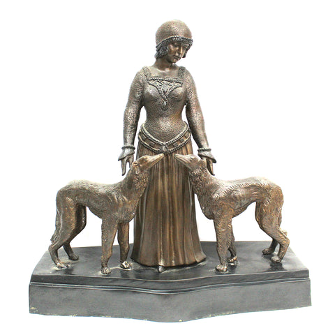 Flapper With Her Dogs Bronze Statue