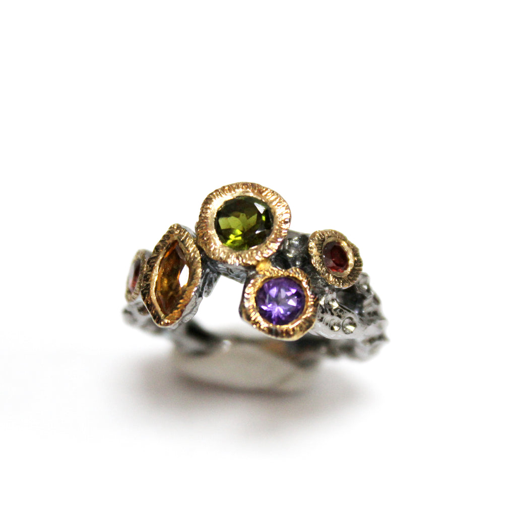 Unique Modern Multi-Gemstone Ring