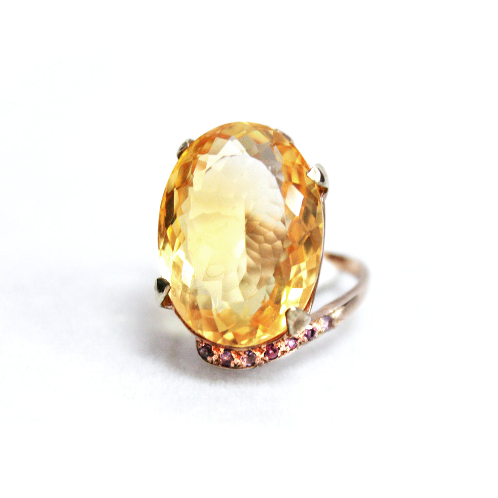 Modern Contemporary Citrine & Pink Sapphire Ring