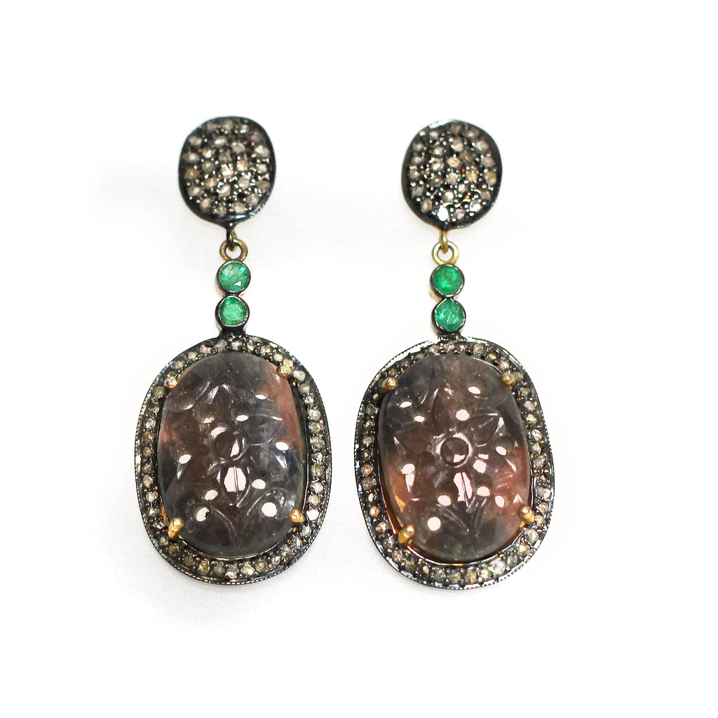 Carved Orange Sapphire, Emerald & Diamond Earrings