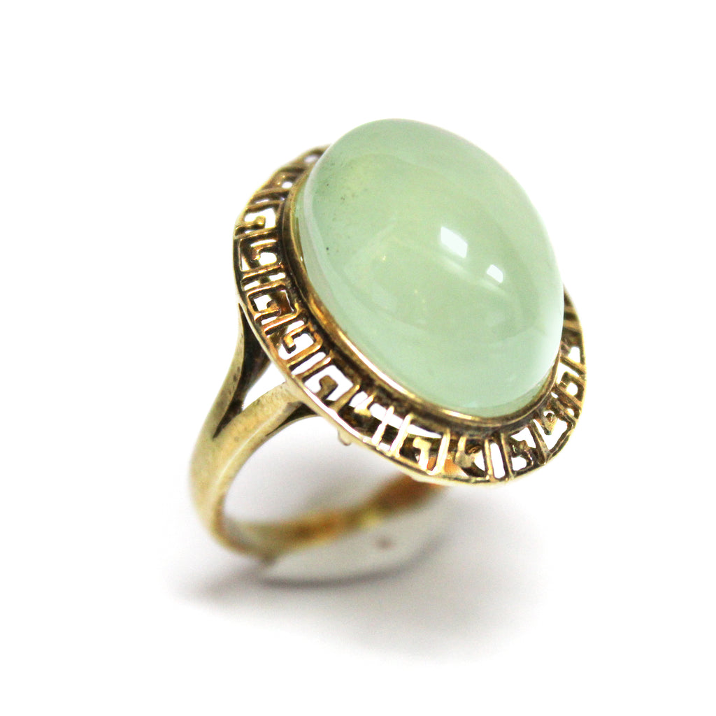 Contemporary Greek Key Design Prehnite Ring