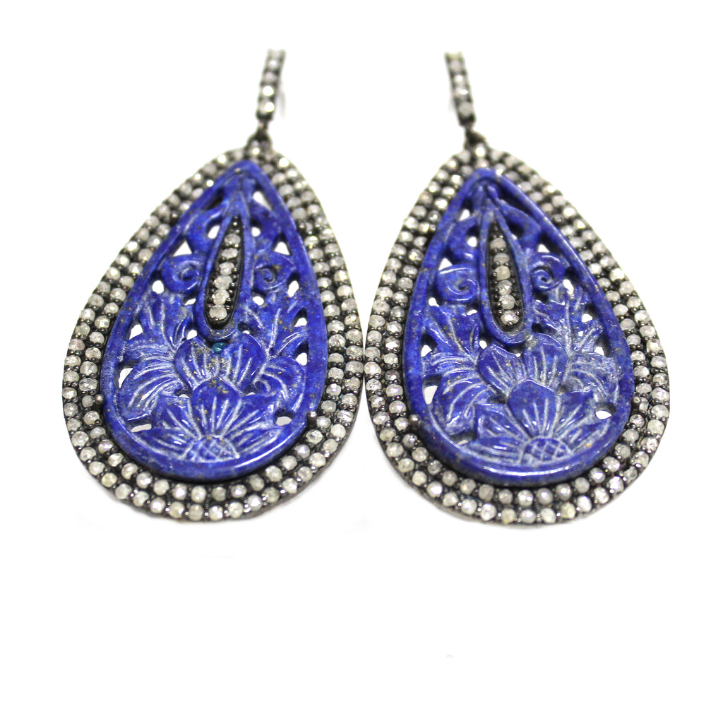 Victorian Inspired Carved Lapis Lazuli  & Diamond Earrings