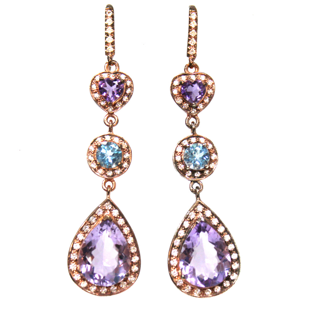 Elegant Amethyst, Blue Topaz & White Topaz Earrings