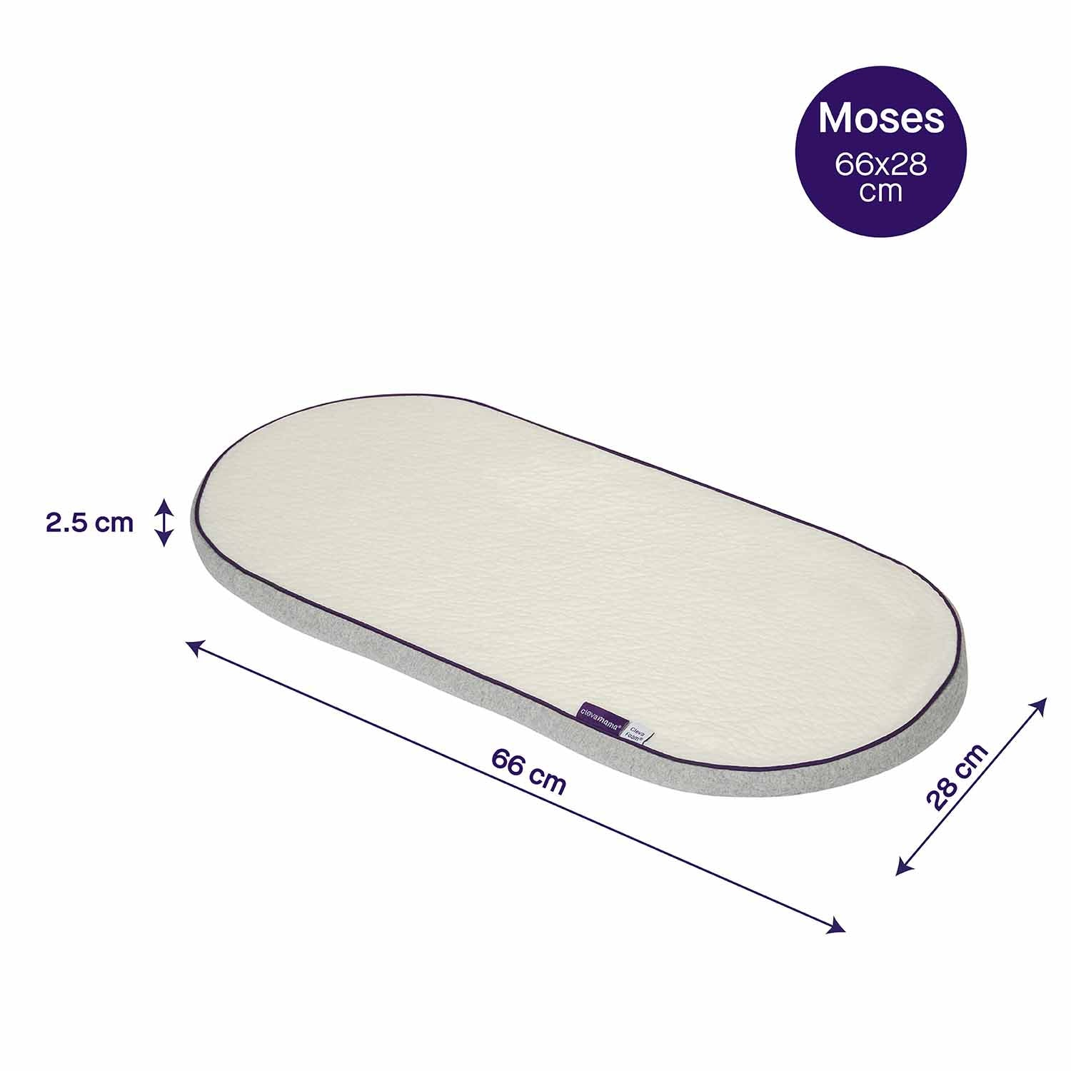Moses Basket Foam Mattress Bassinet Baby PRAM Oval Fully Breathable Quilted Size 64 X 32 X 3.5 cm