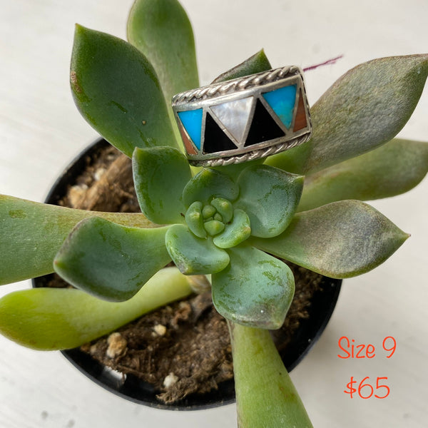 Turquoise/black/white/orange triangle ring