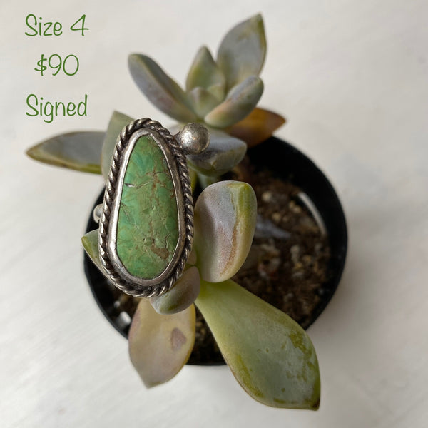 Green stone Ring size 4