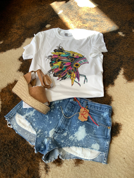 Native Headress Flowers and Feathers White T