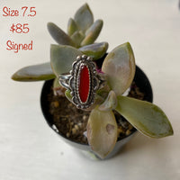 Red stone signed ring size 7.5