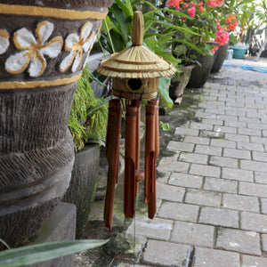 Round Seagrass Bird Box with Chimes
