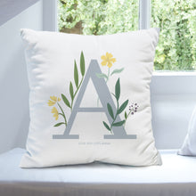 Load image into Gallery viewer, Floral Initial Cushion