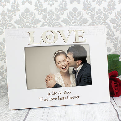 Personalised Love White Frame - Under A Rainbow