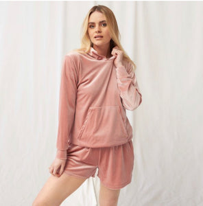 VELOUR CASUAL HOODIE - CREAM or BLUSH PINK