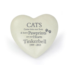 Personalised Cat Pawprints Heart Memorial - Under A Rainbow