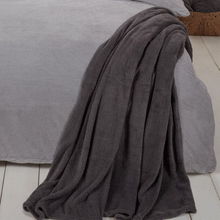 Load image into Gallery viewer, TEDDY FLEECE THROW - CHARCOAL GREY